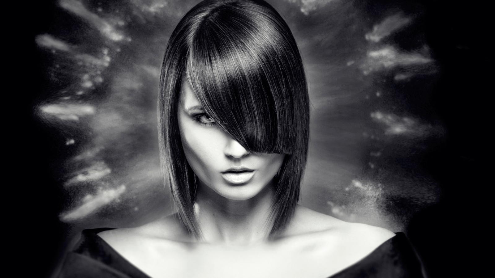 девушка, белье, красотка, портрет, крупно, лицо, взгляд, карэ, черно-белое