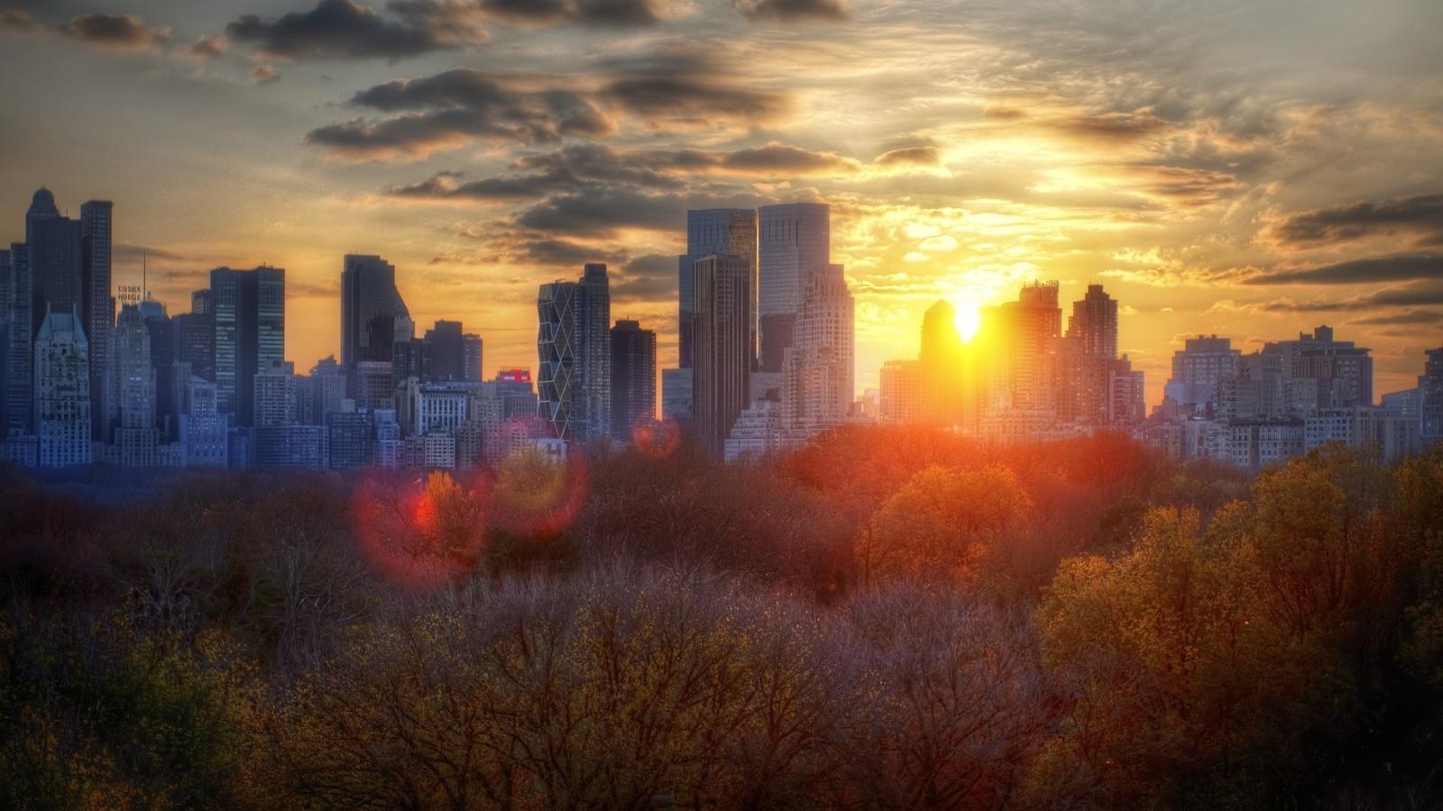 парк, закат, блики, город