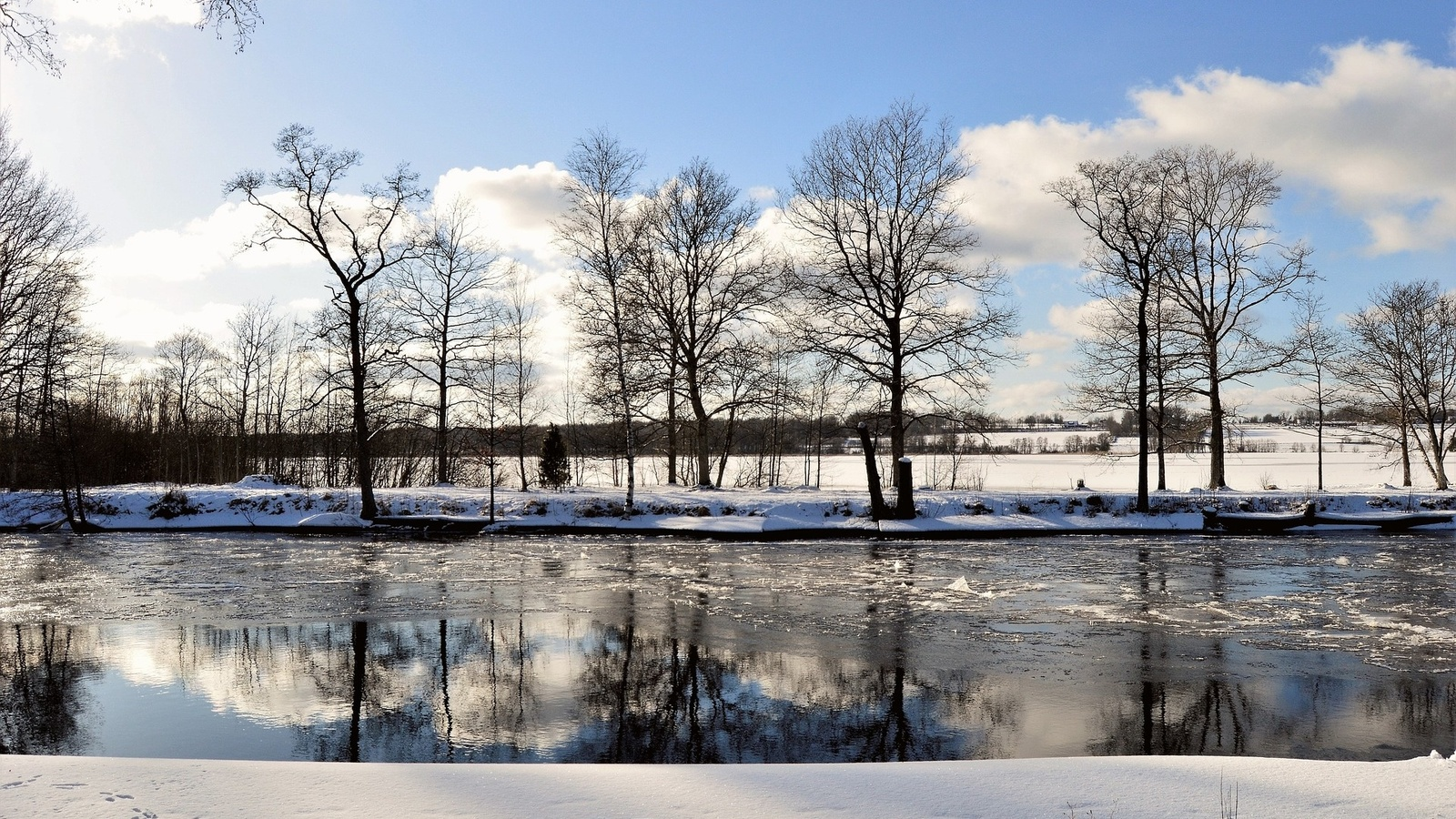 река, деревья, снег