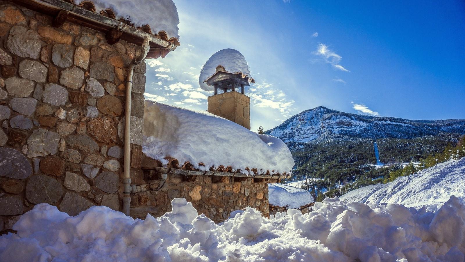 здание, снег, зима