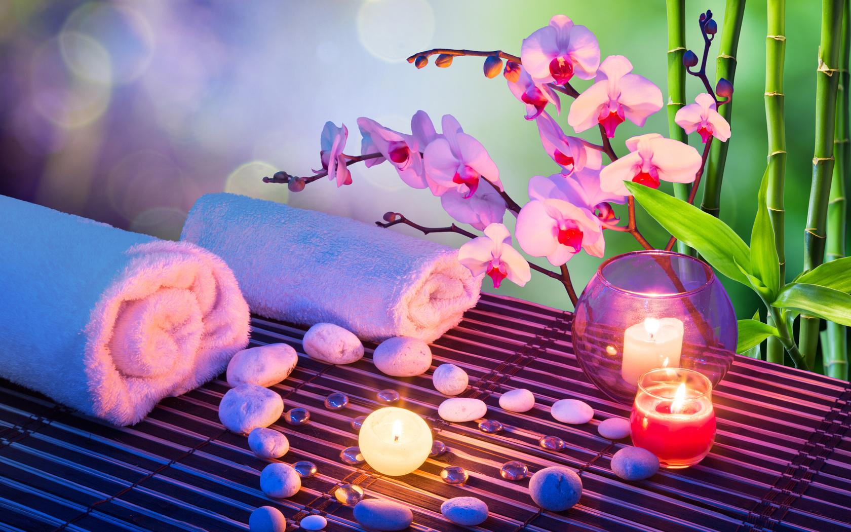 спа, полотенца, свечи, бамбук, листья, вазочка, ветки, цветы, орхидея, камни, галька, боке, стебли
