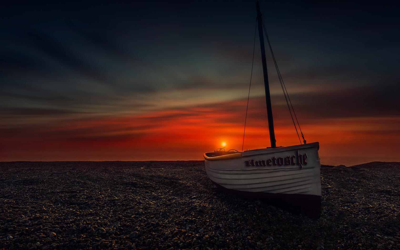 лодка, небо, облака, солнце, фотограф hmetosche