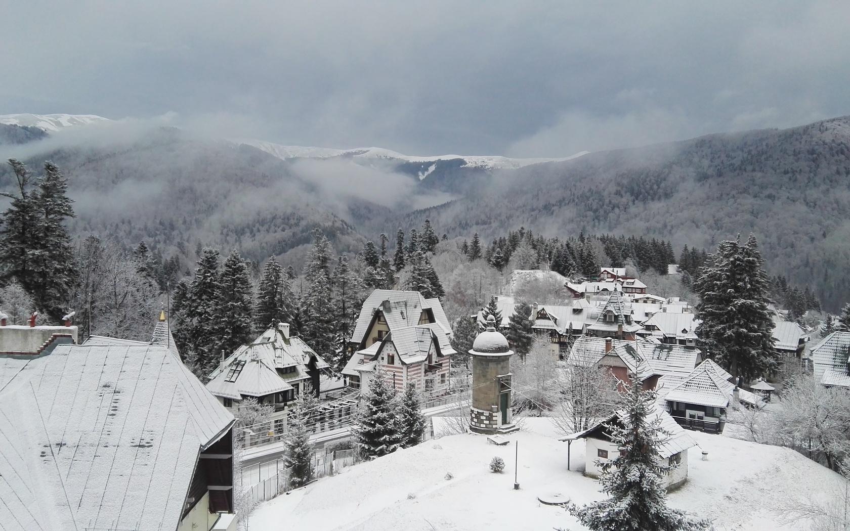 горы, снег, городок, румыния