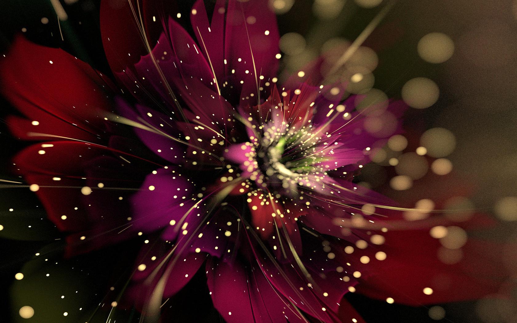 3d, графика, фракталы, цветок, абстракция, боке