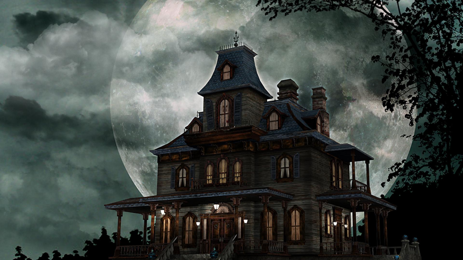 ночь, старая усадьба, фонари, луна, призраки