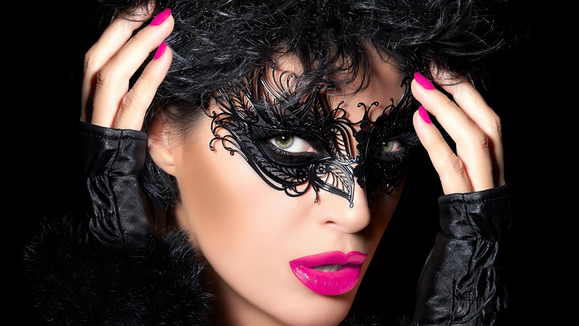 девушка, белье, красотка, портрет, крупно, лицо, взгляд, маска