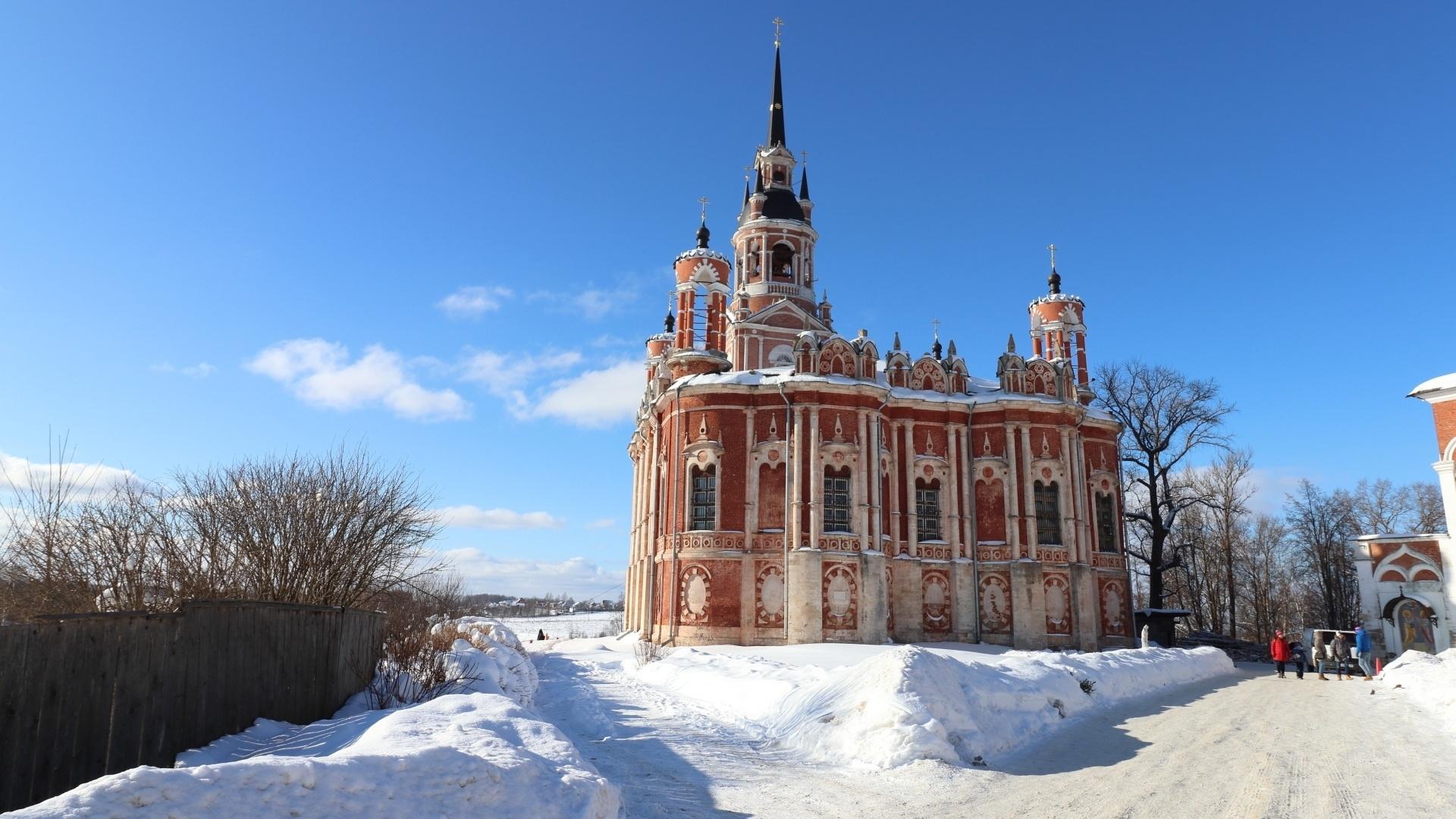 небо, дворец, снег