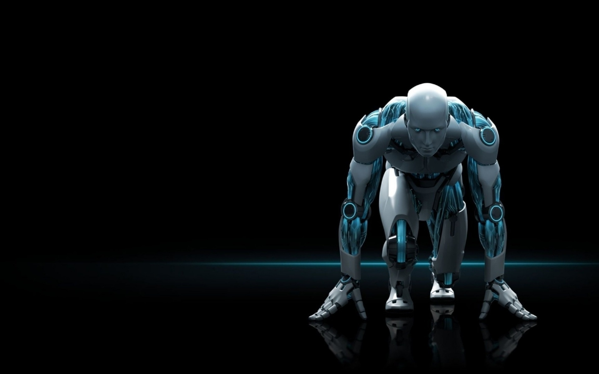 обои, тёмный фон, робот, irobot
