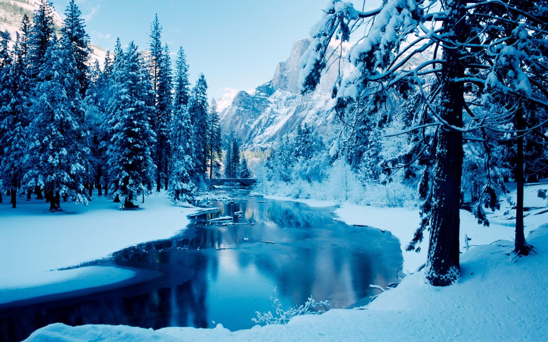 природа, пейзаж, снег, деревья, горы, река, лёд, зима