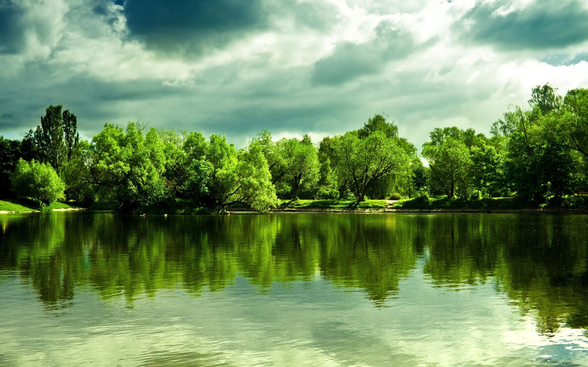 природа, пейзаж, лето, озеро, берег, деревья, облака, отражение