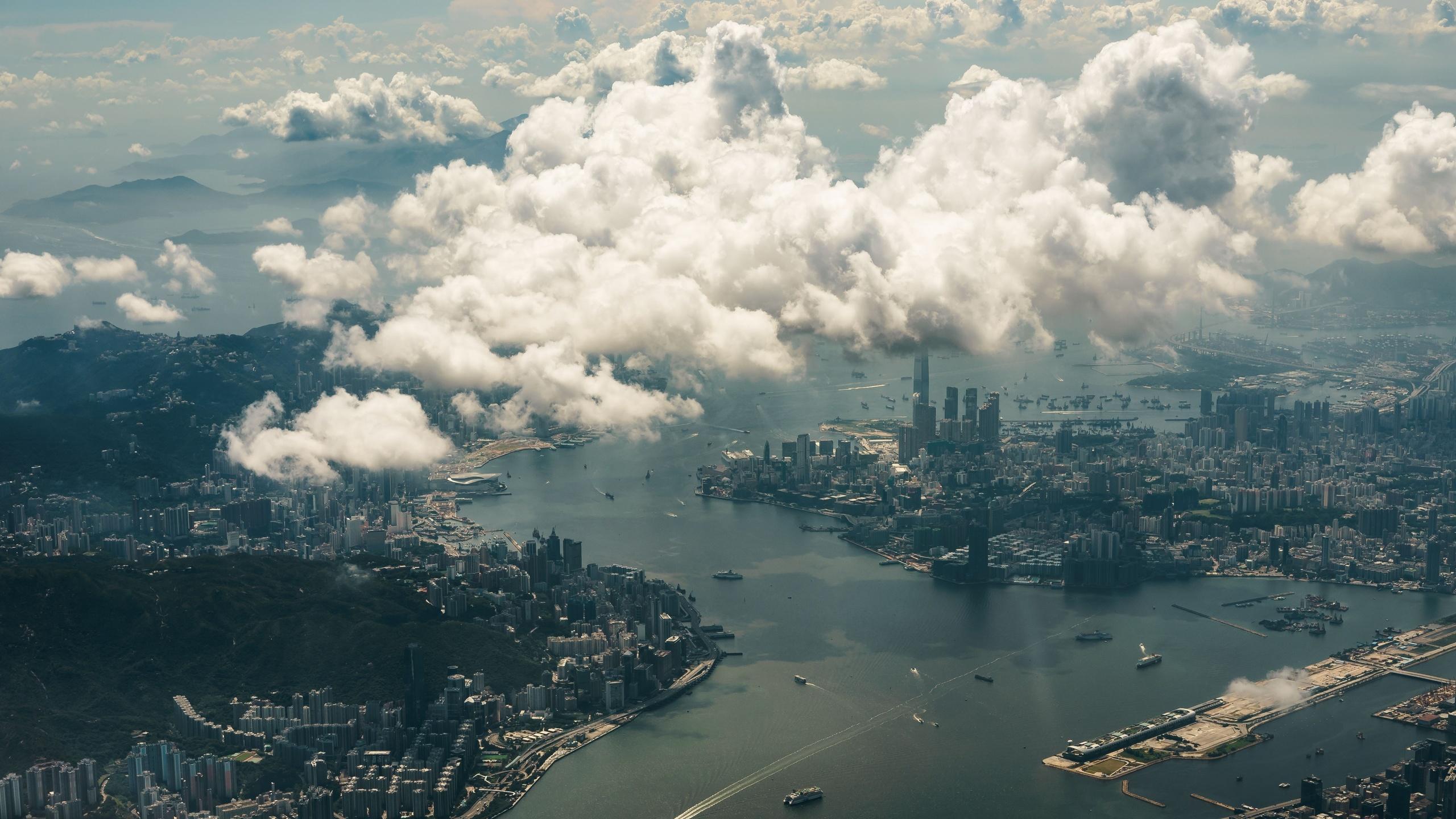 hong kong, облака, город