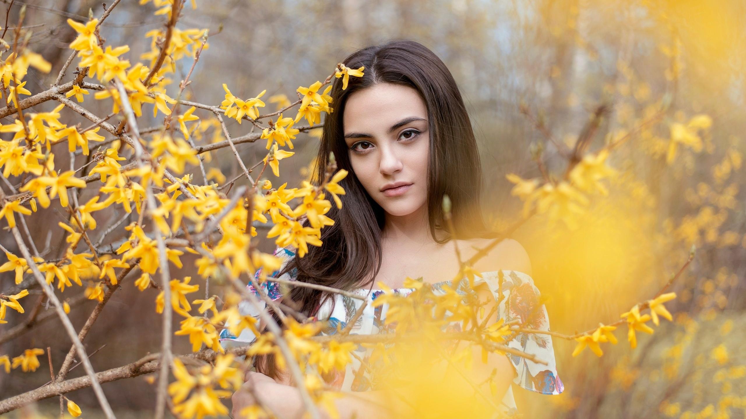 девушка, на природе, портрет, красивая, цветение, весна
