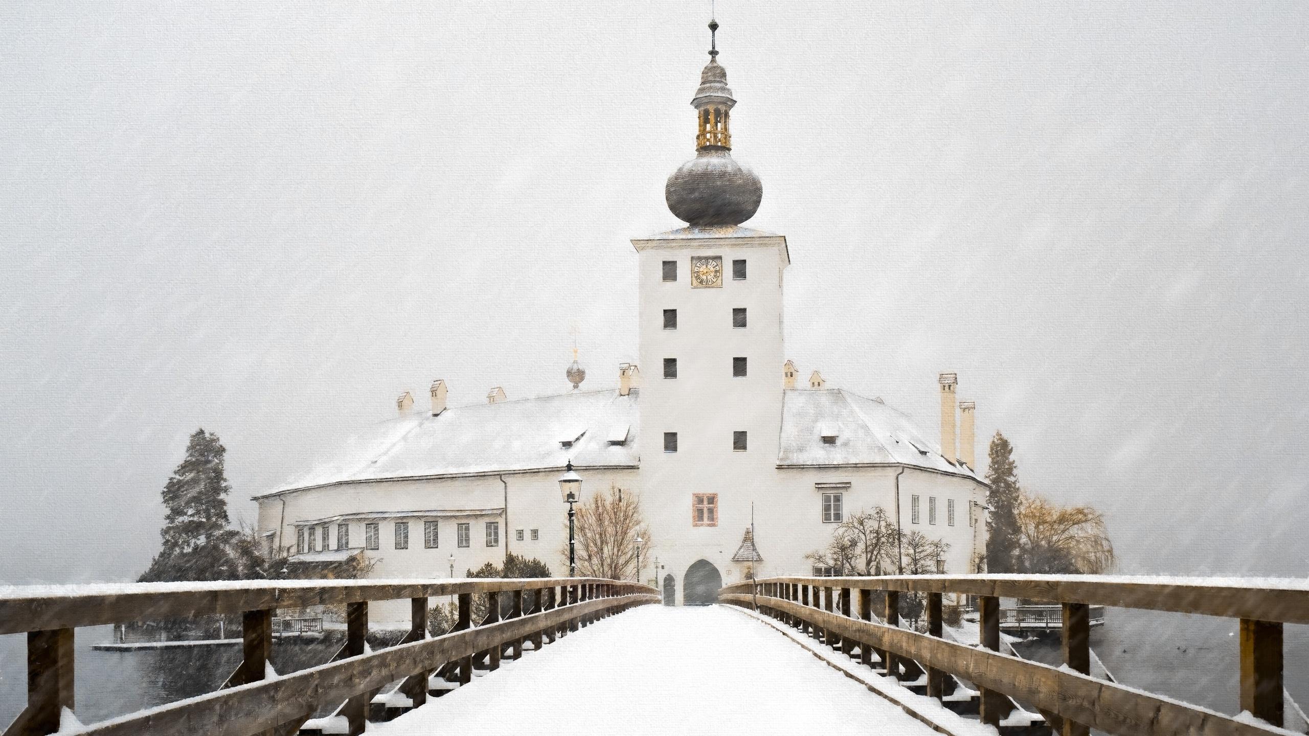 мост, снег, церковь