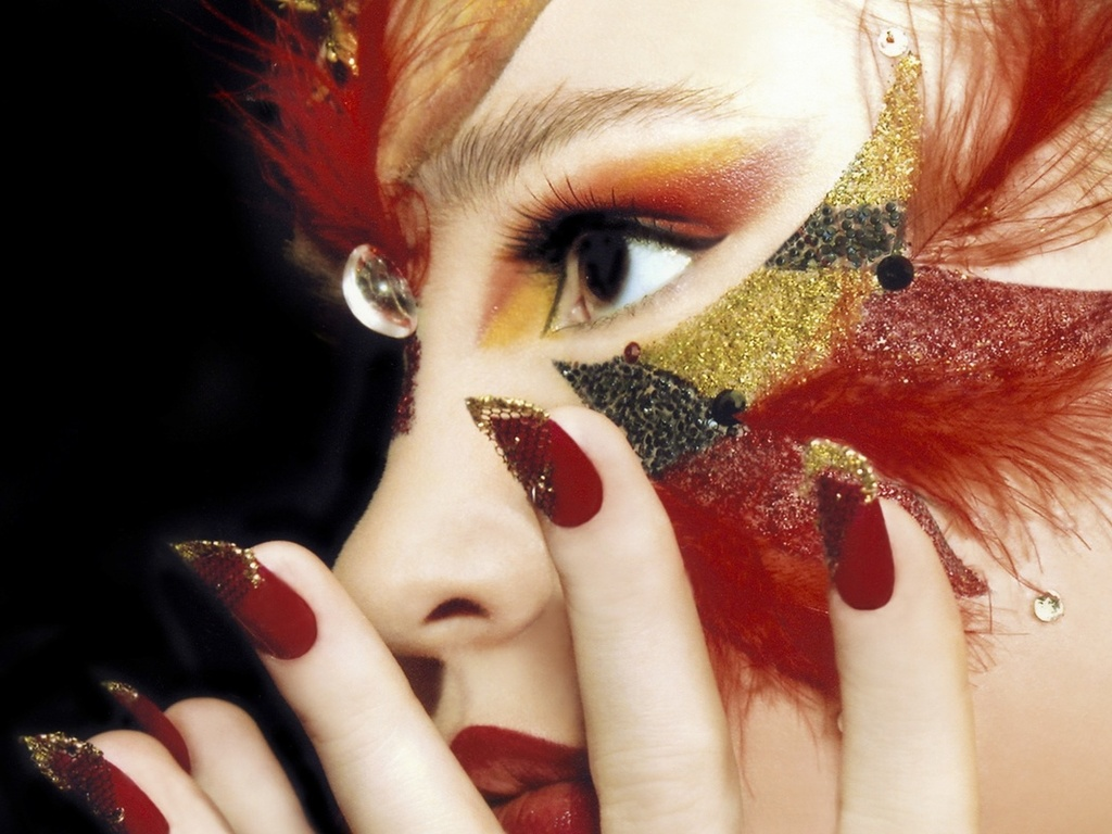 style, look, feathers, manicure, hand, face, makeup, girl