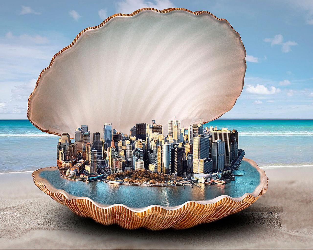 пляж, море, город, раковина, фотоманипуляция