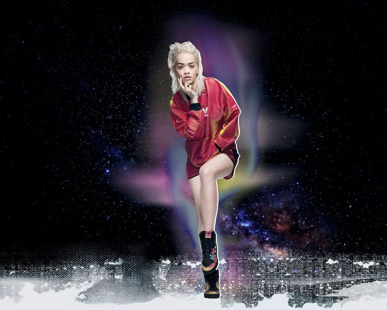 photoshoot, rita ora, makeup, sneakers, singer, blonde, clothing, background, brand, pose, model, originals, hairstyle, adidas