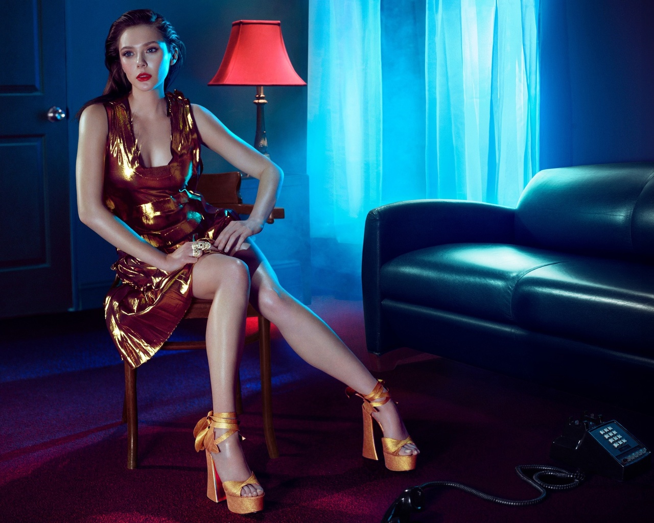 curtains, phone, shoes, makeup, beauty, legs, actress, posing, light, window, elizabeth olsen