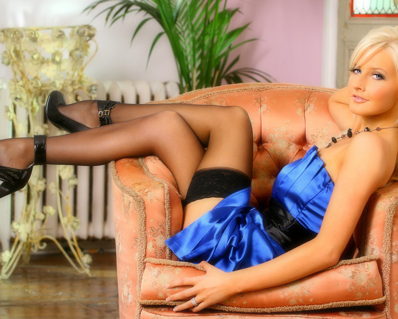 look, sexy, michelle marsh, blonde, dress, face, girl, blonde, hot, blue dress, stockings