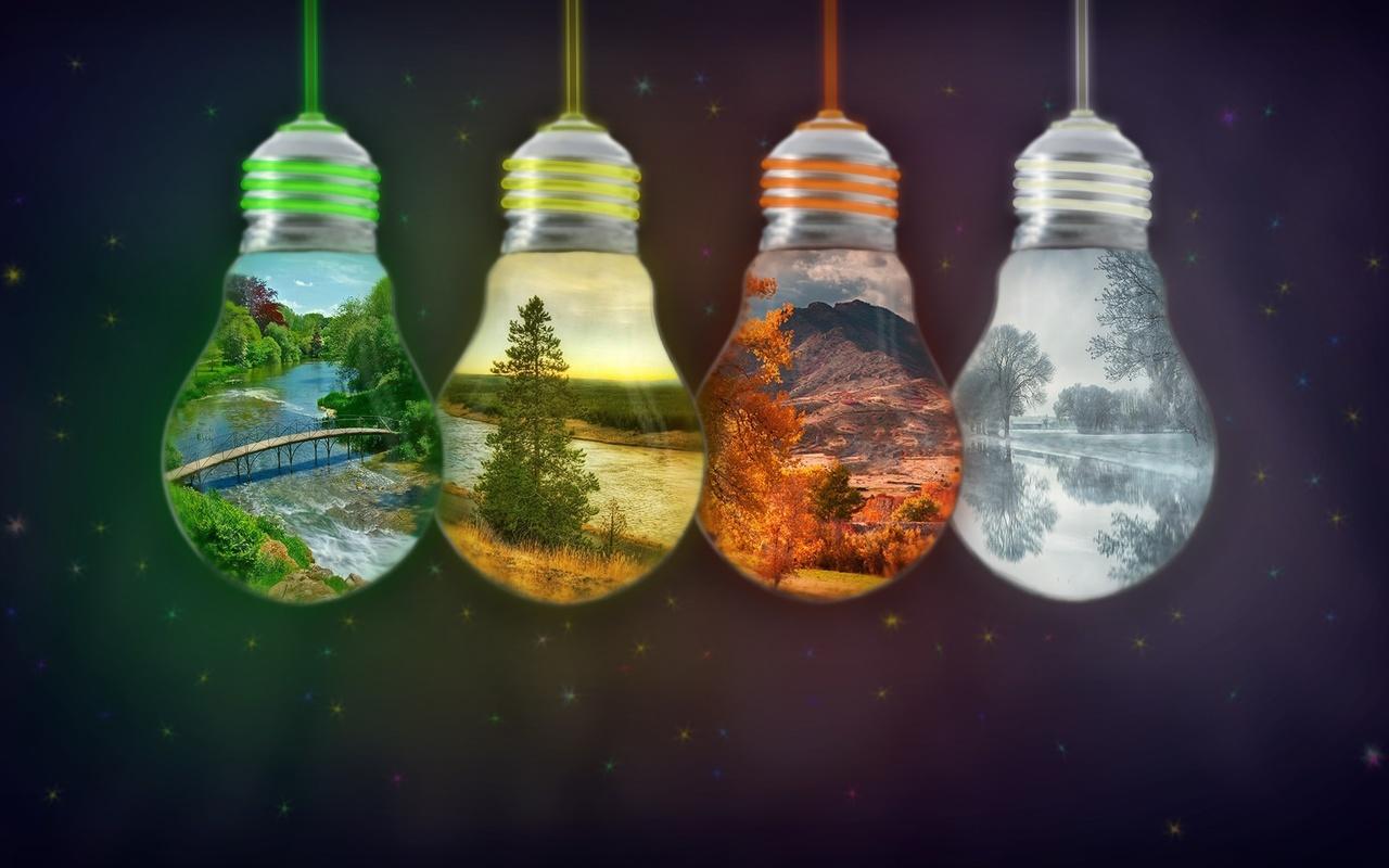 лампочки, весна, лето, осень, зима, фон, 4 сезона, фотоманипуляция