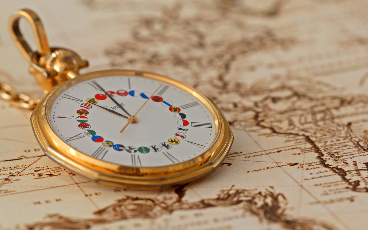 золото, часы, карта, макро