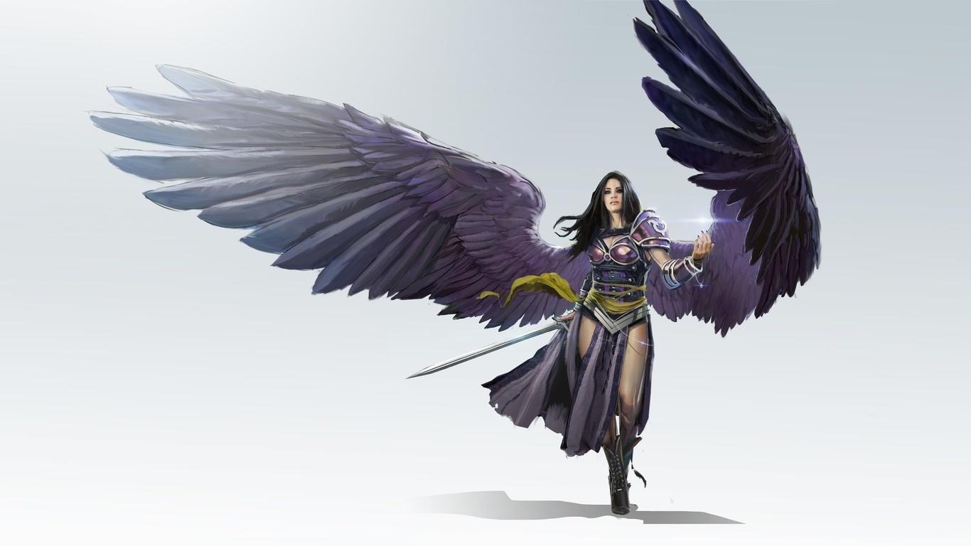 деваха, воин, арт, образ, крылья, ангел, креатив