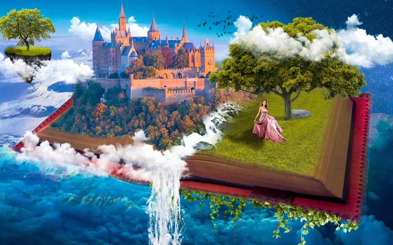 девушка, дерево, замок, лес, водопад, остров, небо, облака, фотоманипуляция, книга