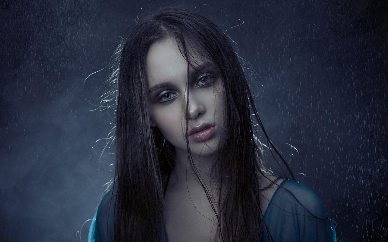women, face, portrait, rain, water, blue background