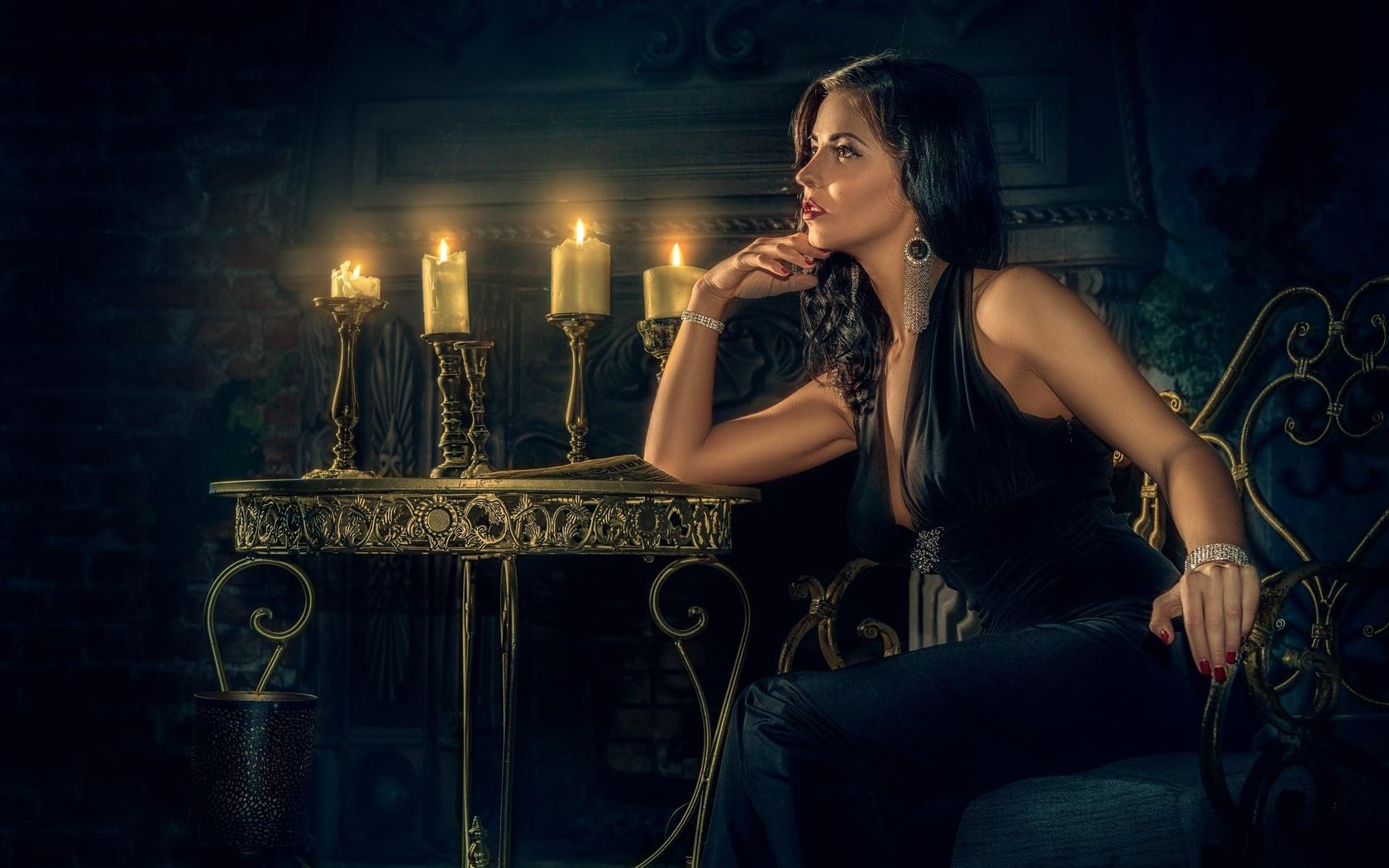 fireplace, decoration, manicure, girl, candles, makeup