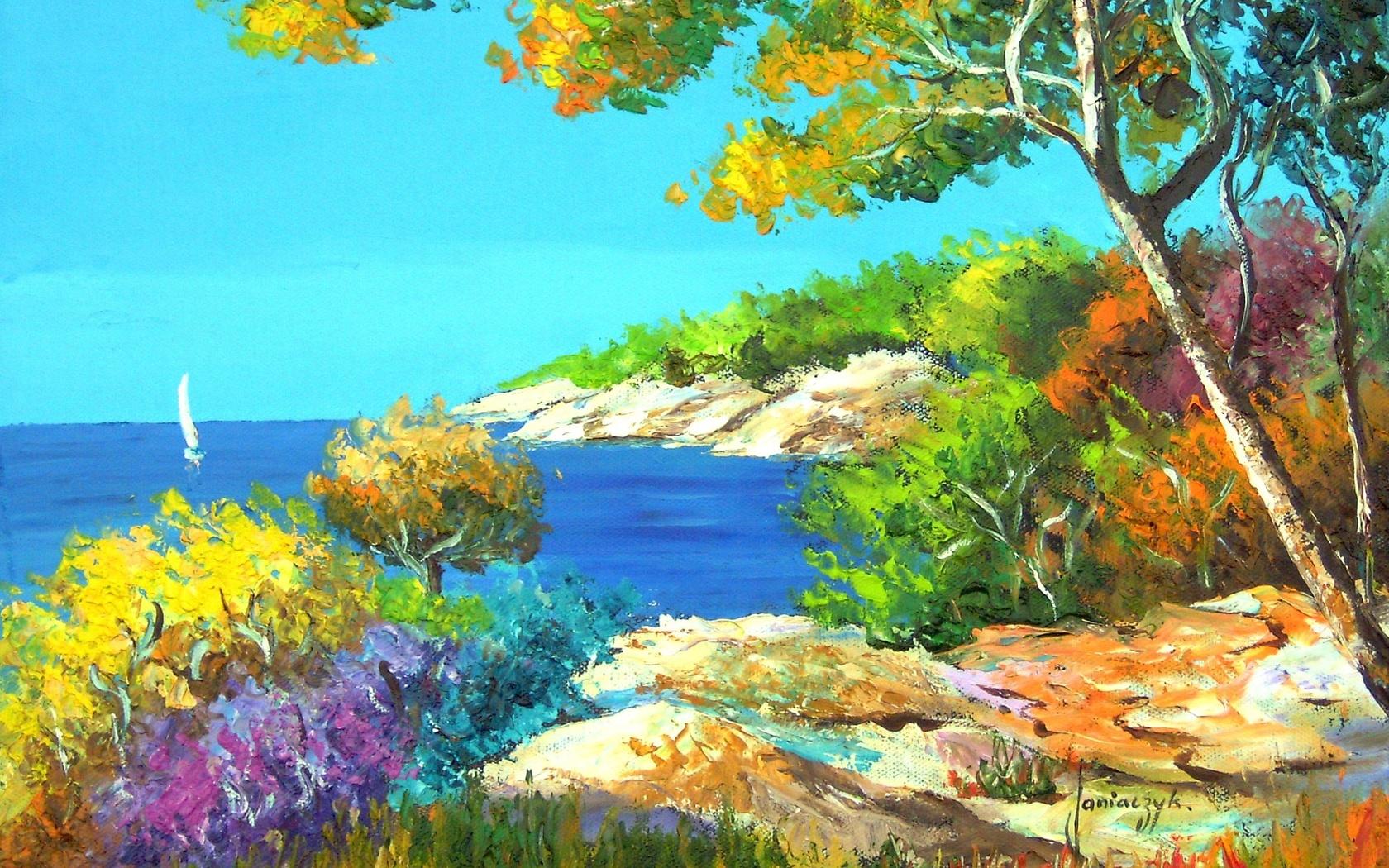 sea, art, artist, shore, impressionist, jean marc janiaczyk, landscape