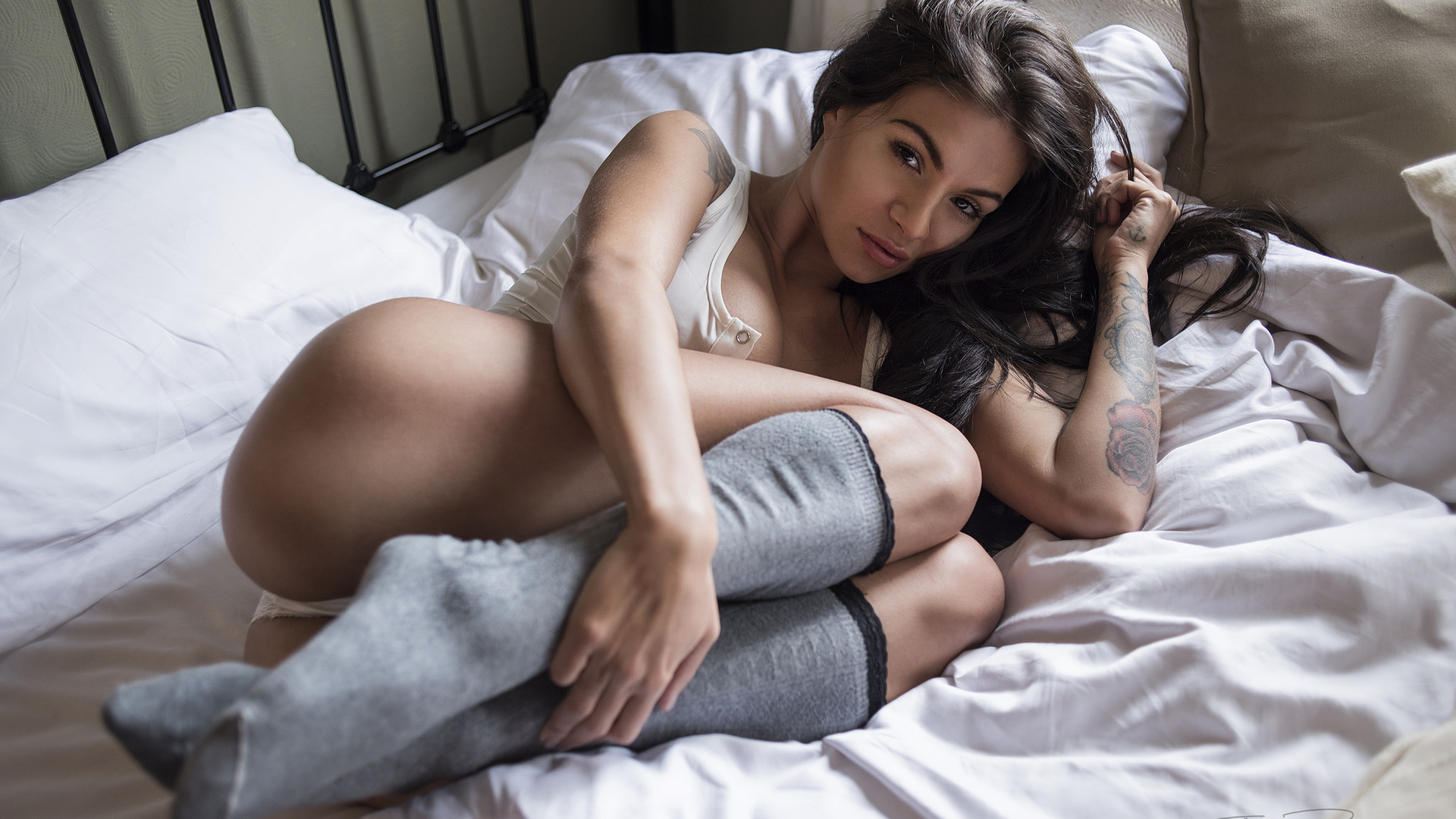 women, jack russell, in bed, ass, stockings, tanned, pillow, white panties, portrait, tattoo