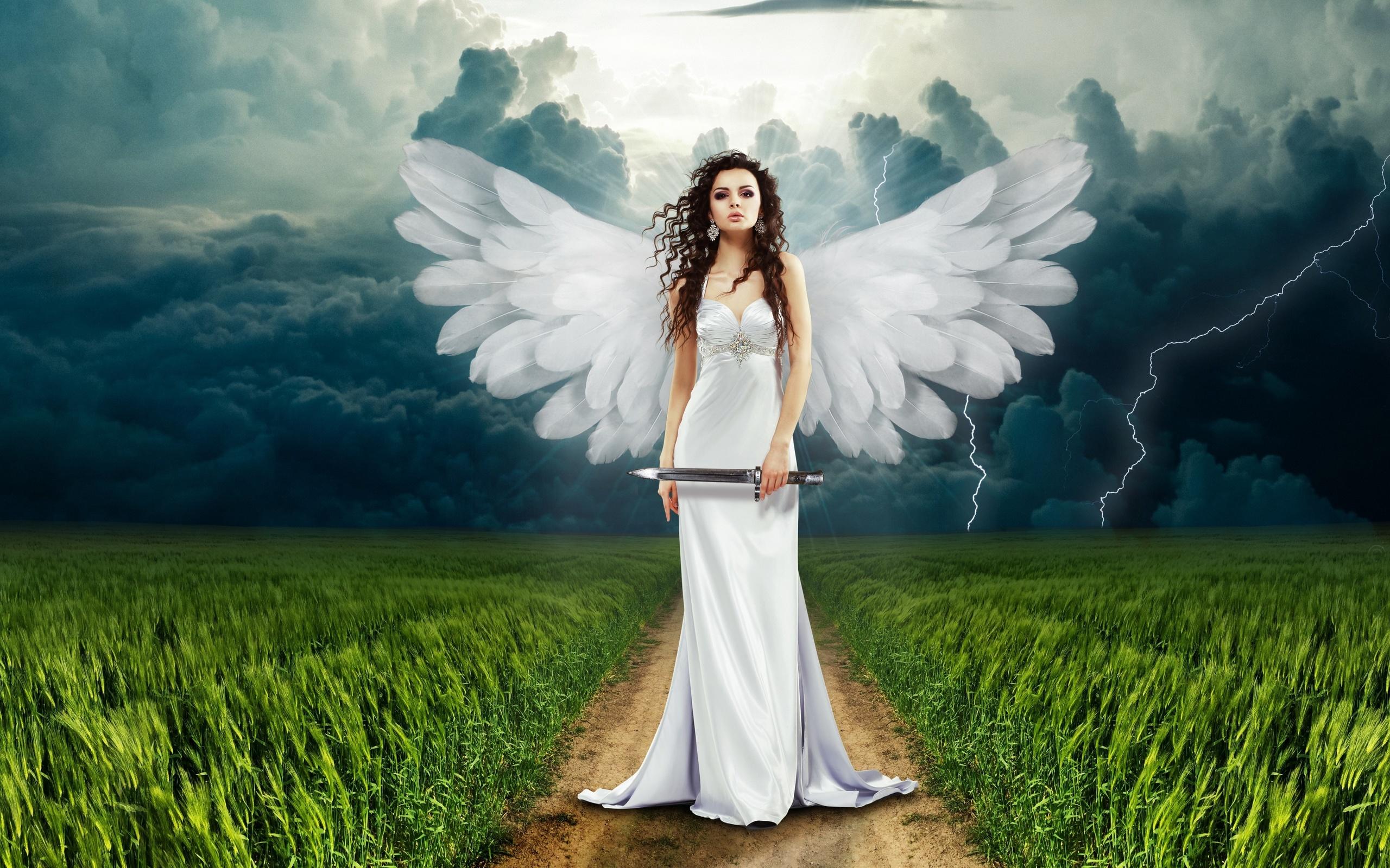 ангел, крылья, тучи, молния