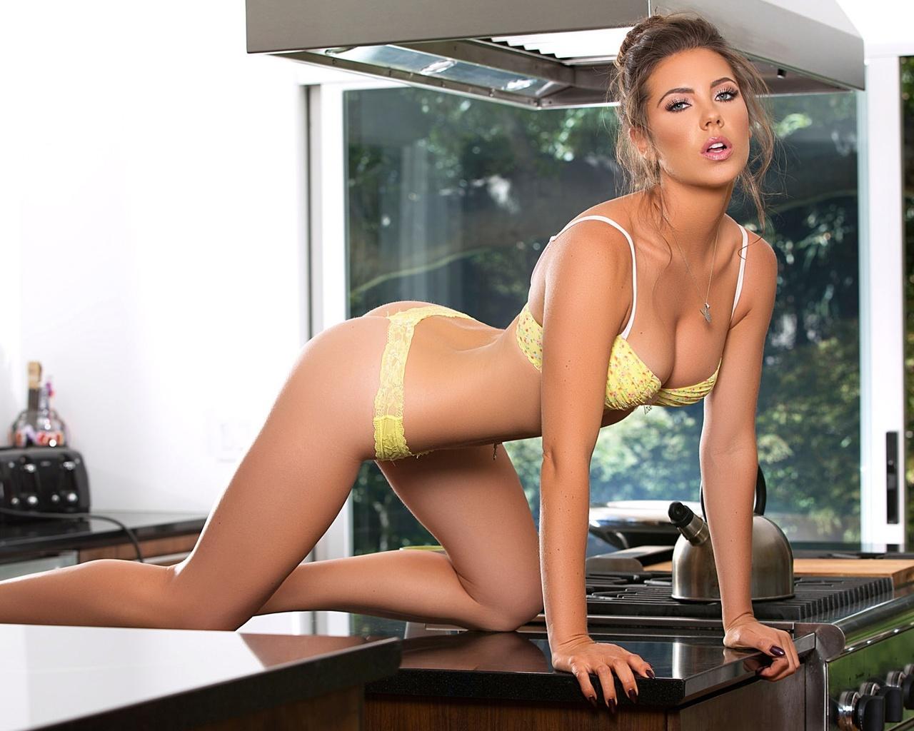 model, kitchen, beautiful, panties, bra, plate, brown hair, figure, sexy, pose, gia ramey, look, kettle