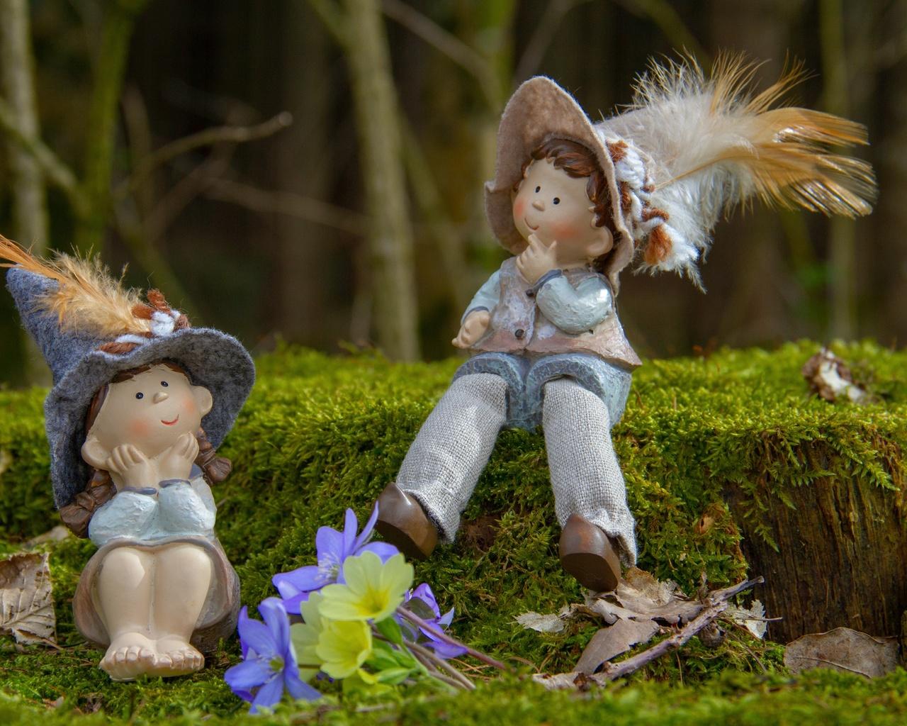 природа, весна, куколки, пара, парень, девушка, любовь, мох, первоцветы