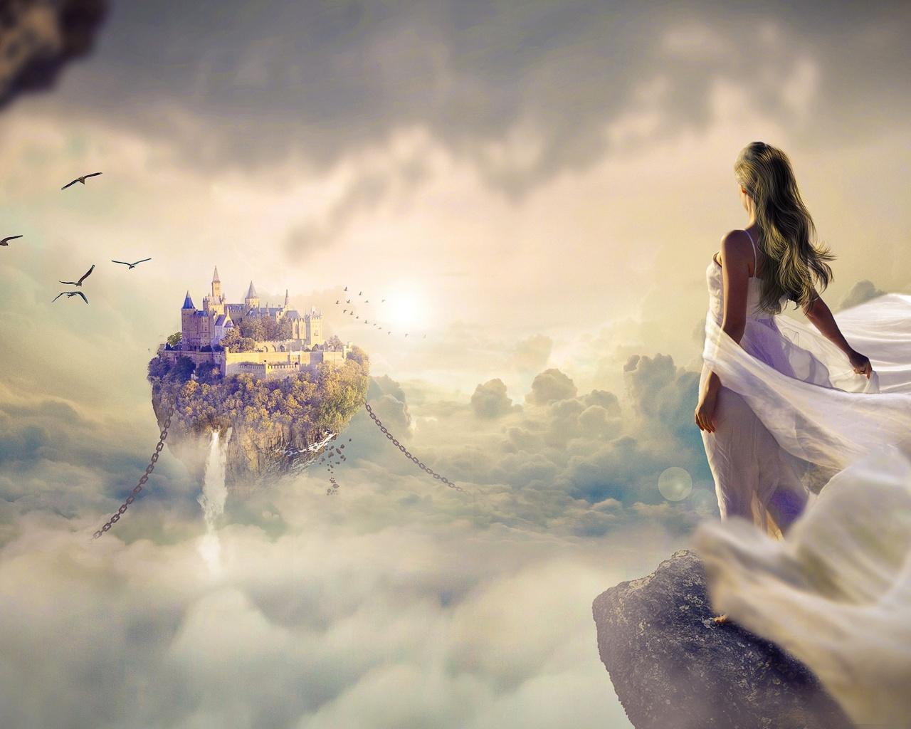 Оформление, открытка девушка мечта