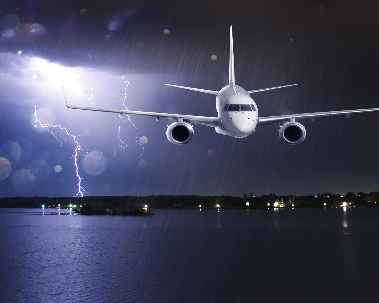 passenger, clouds, lightning, airplane, liner, shore, rain, lights, storm, sea, flight, night, glare