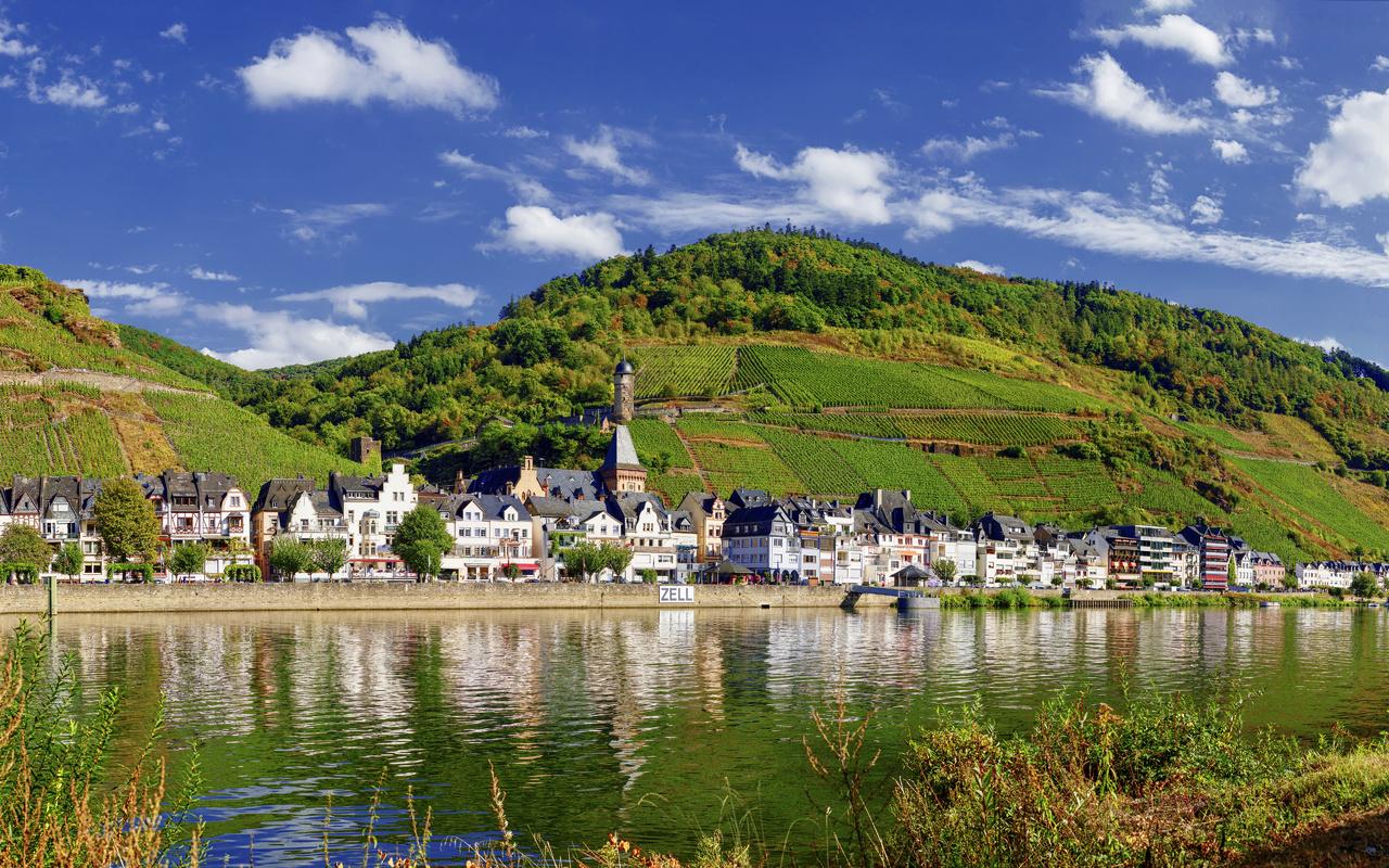 германия, дома, река, поля, холмы, городок