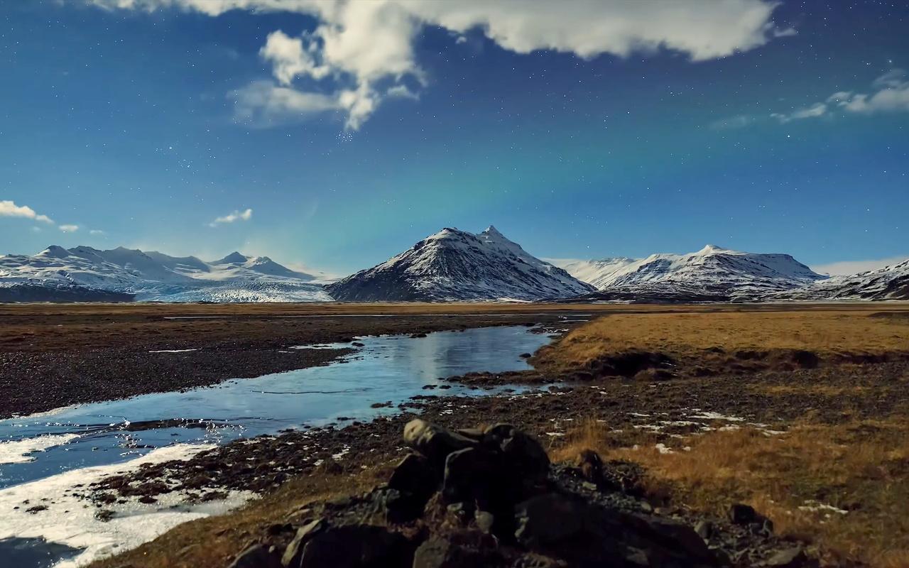 горы, ручей, небо