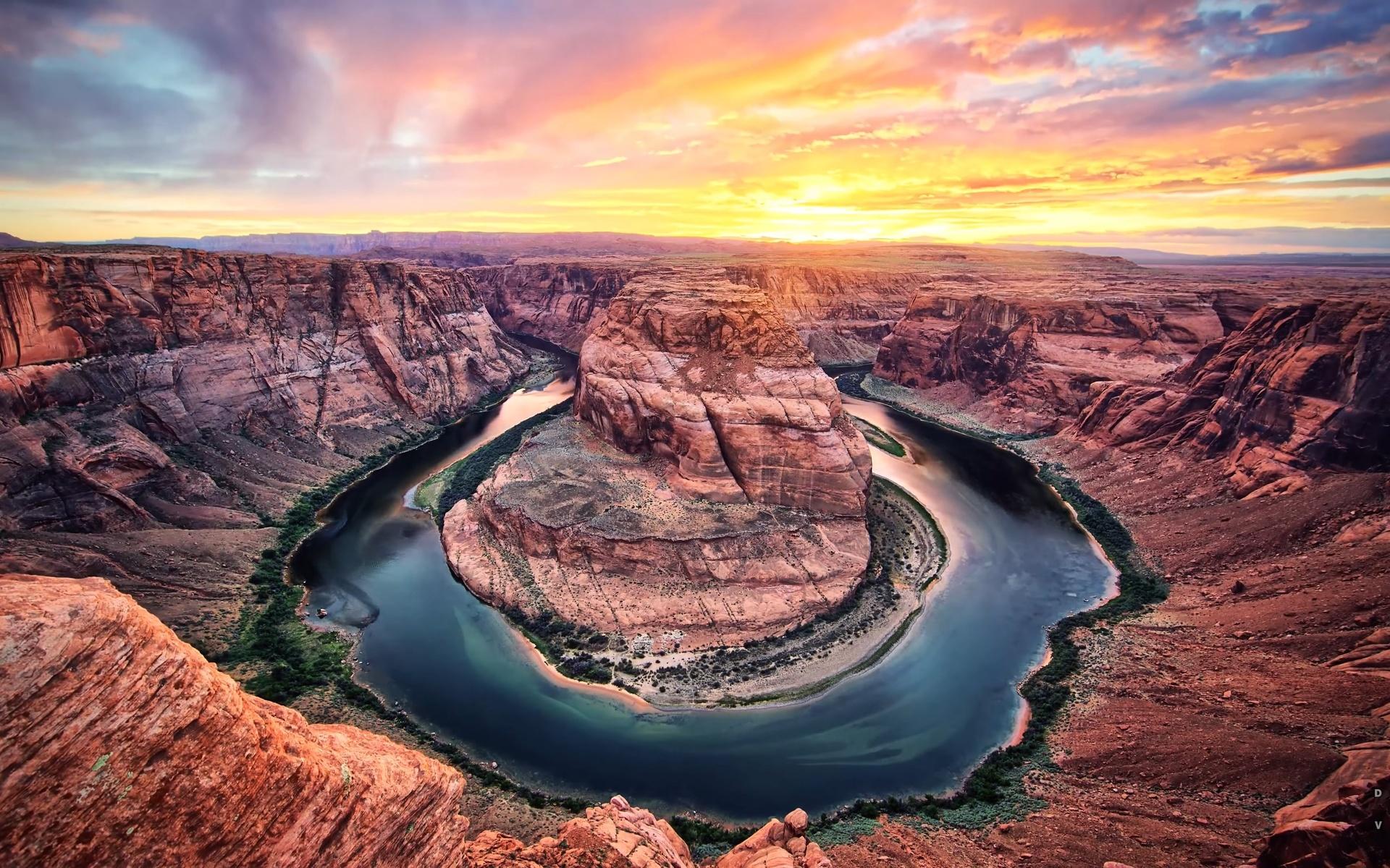 закат, каньон, река