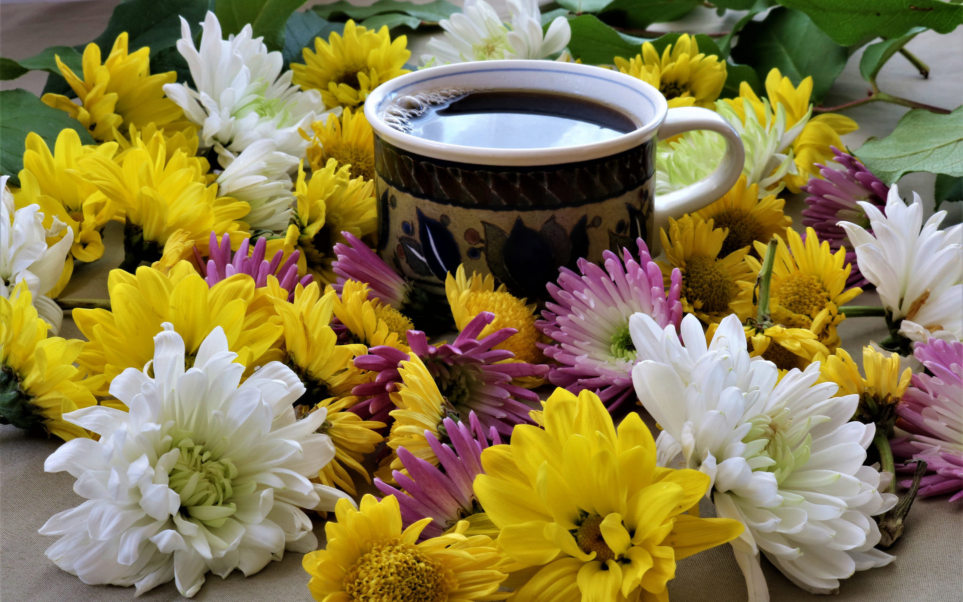 Открытка доброе утро с хризантемами