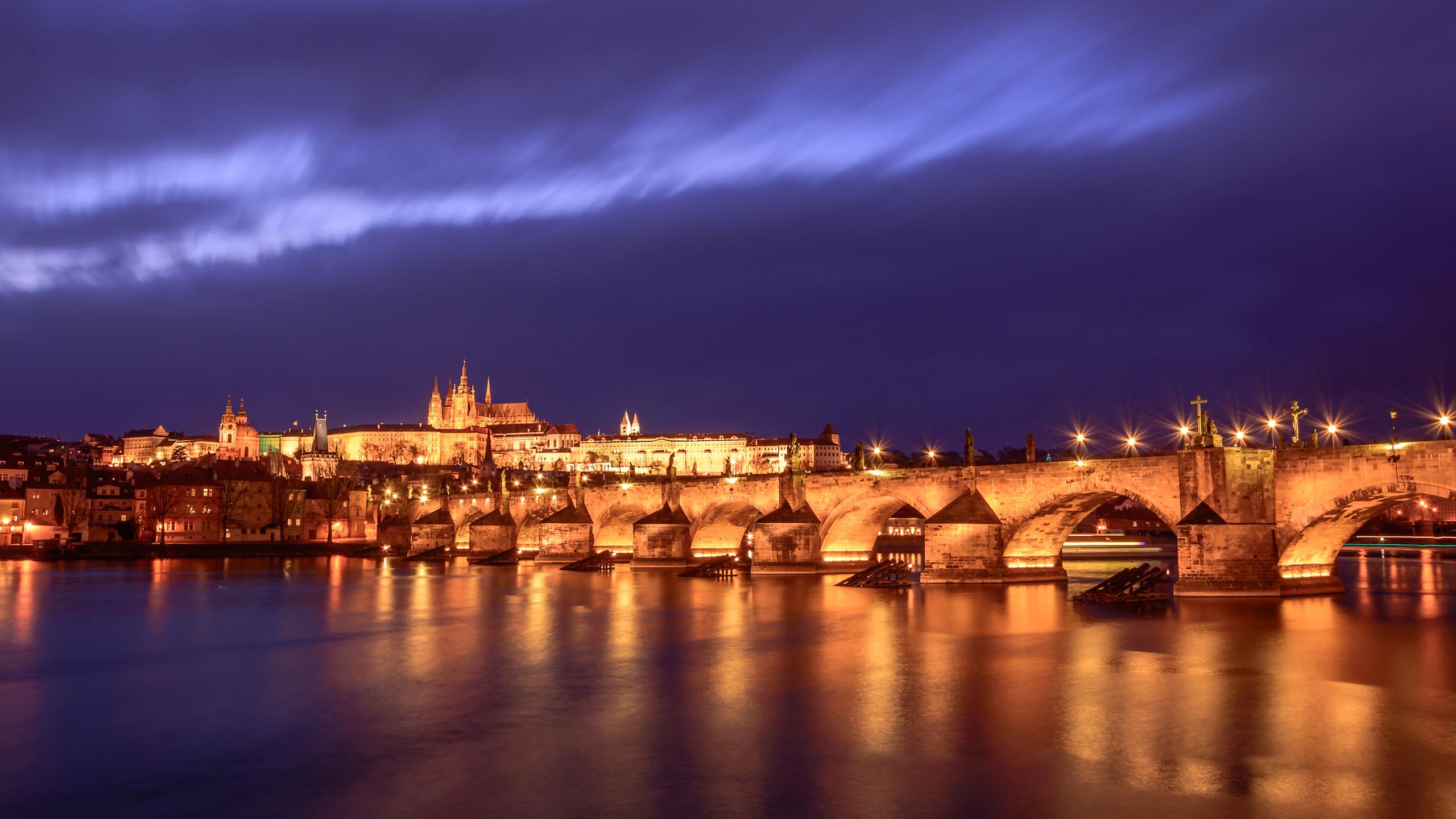 прага, карлов мост, мост, башня, закат, вечер, сумерки, город, европа, небо, вода, река, влтава, свет
