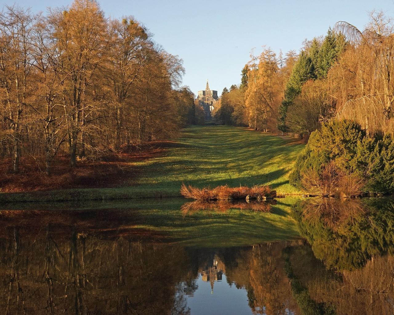 горный парк вильгельмсхёэ, кассель, германия, осень, композиция