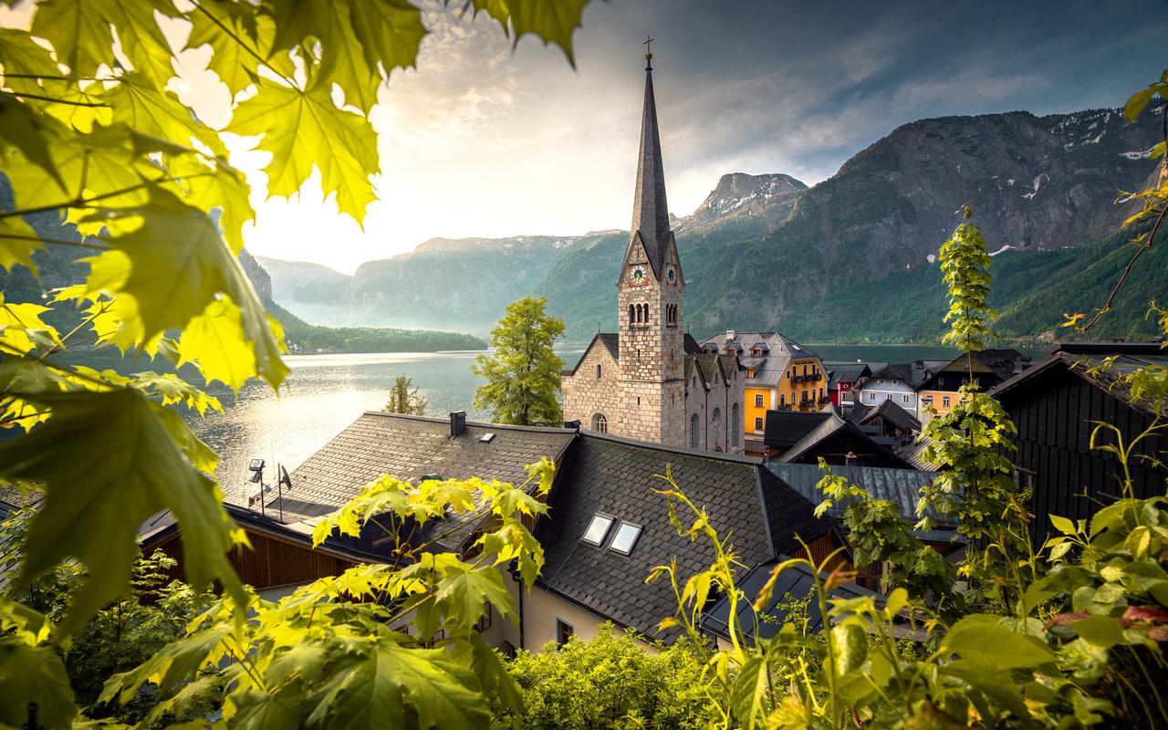 австрия, austria, городок, поселок, гальштат, hallstatt, озеро, дома, церковь, церква, горы, ilhan eroglu