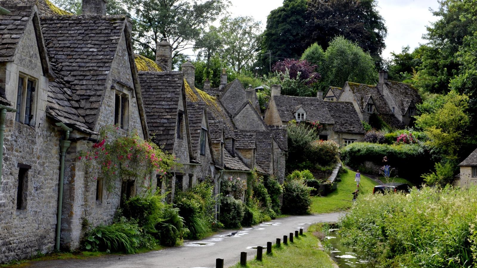 деревня, улица, дома, весна, англия