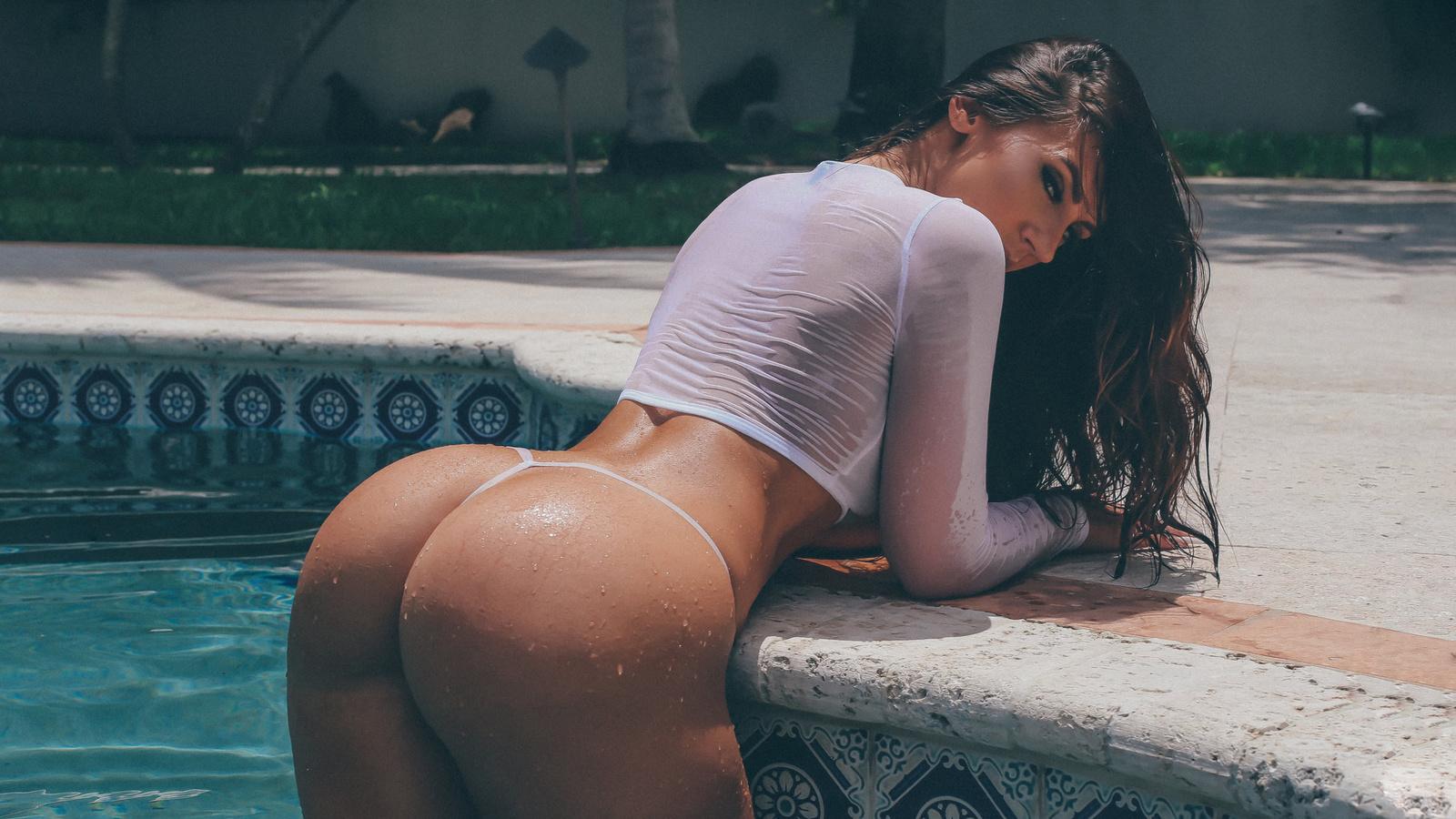 amanda cherundolo, модель, попа, бассейн, мокрая, взгляд