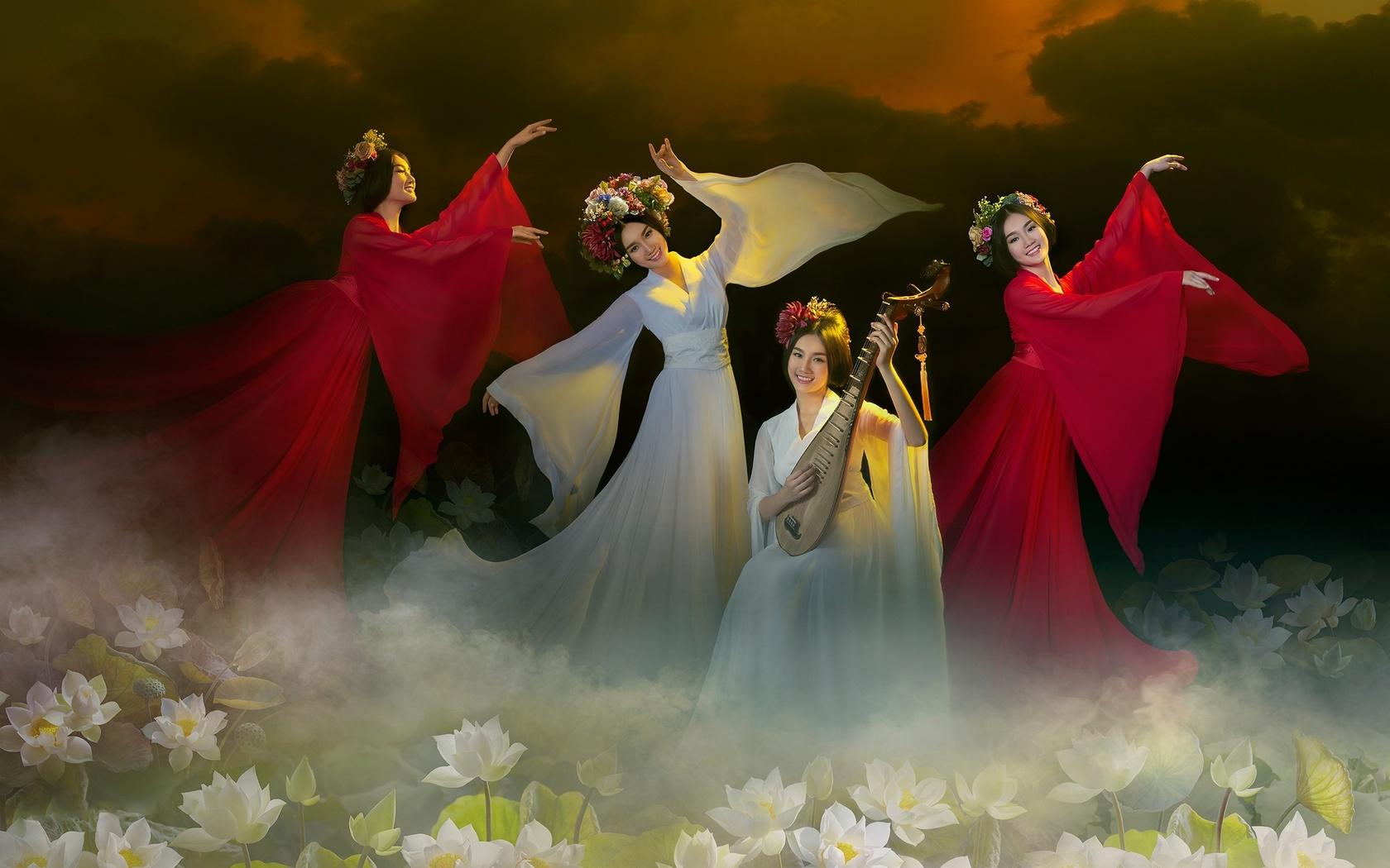 девушки, азиатки, платья, танцы, музыка, природа, цветы, лотосы, квартет