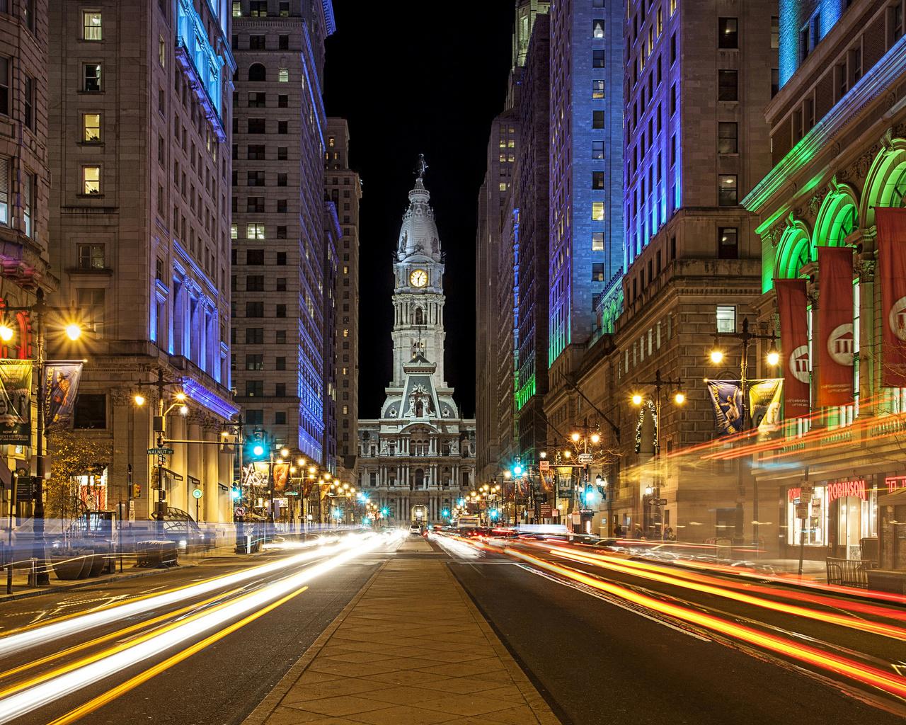 .филадельфия, ночь, огни, город, пейзаж