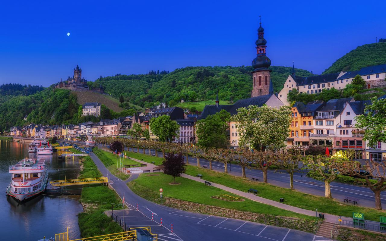 кохем, германия, дома, река, вечер, улица, город