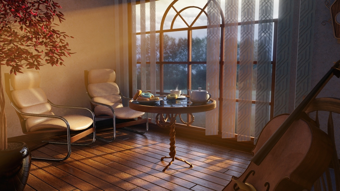комната, окно, жалюзи, столик, чаепитие, кресла