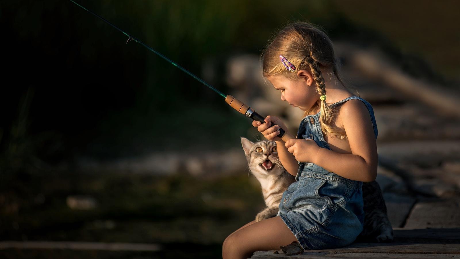 девочка, ребенок, кот, фото, позитив, рыбалка