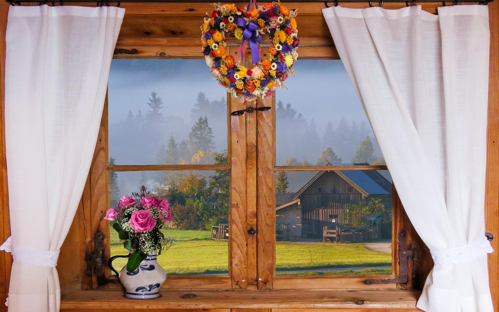 окно, занавески, кувшин, цветы, букет, розы, венок, деревня